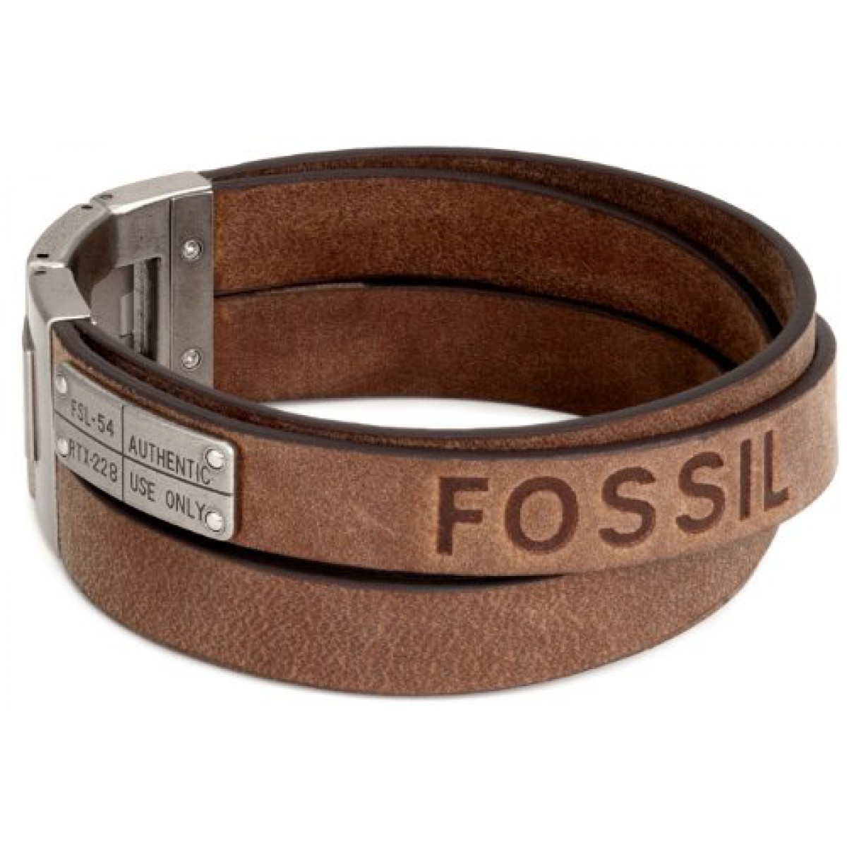fossil herren armband leder mit logo pr gung. Black Bedroom Furniture Sets. Home Design Ideas