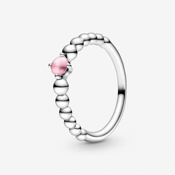 Pandora 198867C09 Ring Damen Rosafarbene Metallperlen Silber