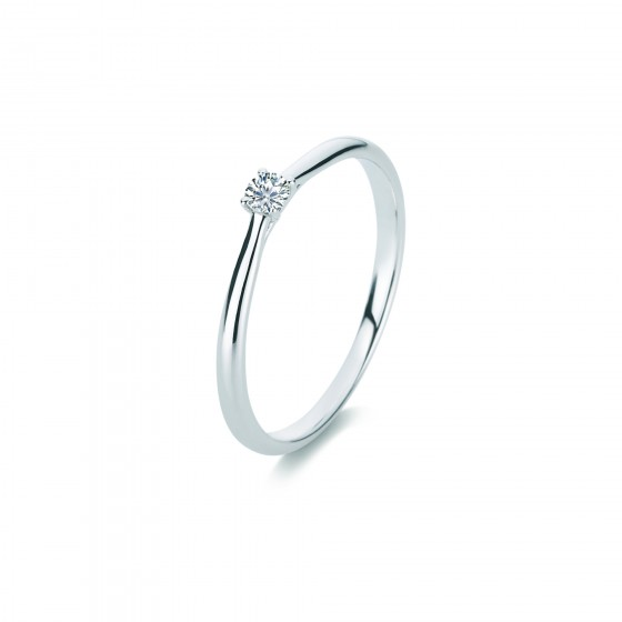 Diamond Group 1A287W456 Ring Brillant 0,10 ct TW-si 14 kt Weissgold Gr. 56