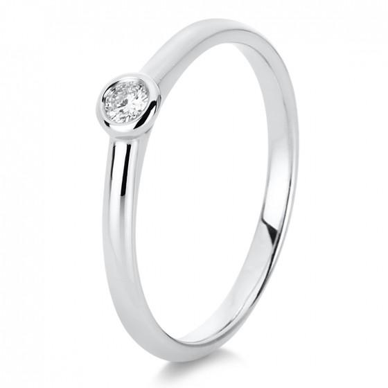 Diamond Group 1C531W4 Ring Damen Brillant 0,20 ct 14 kt WG Gr. 54
