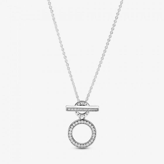 Pandora 399039C01 Halskette Damen Doppelte Kreise mit T-Verschluss