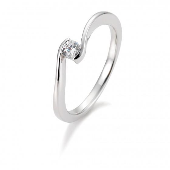 Verlobungsring 585/- Weißgold 0,10Ct.