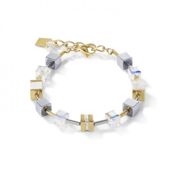 Coeur de Lion 4965/30-1614 Armband Damen GeoCUBE® Kristall Pavè Swarovski® Kristalle Howlith Gold-Weiß Edelstahl