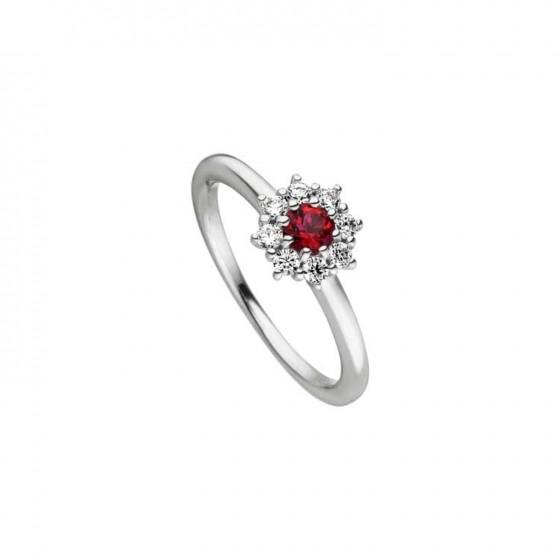 Viventy 783401 Ring Damen Rot Topaz Zirkonia Sterling-Silber Gr. 54
