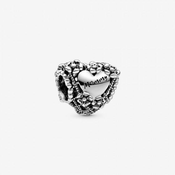 Pandora 798892C00 Charm Offen Florales Herz Mummy Silber
