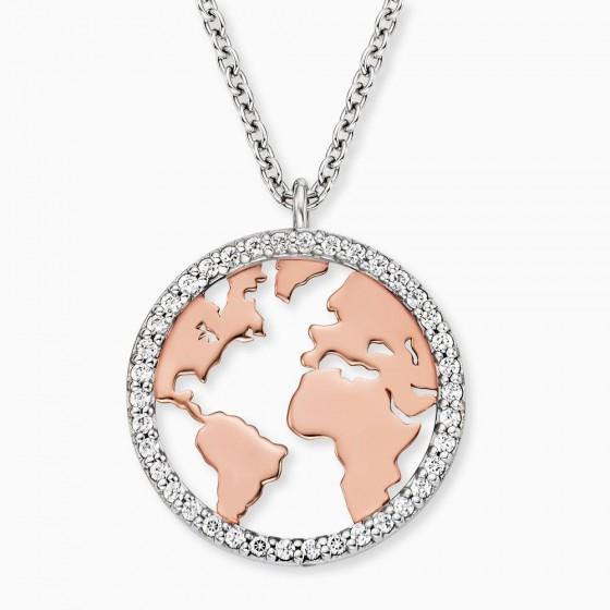 Engelsrufer ERN-WORLD-BICOR-ZI Halskette-Anhänger Weltkugel Silber Rosé