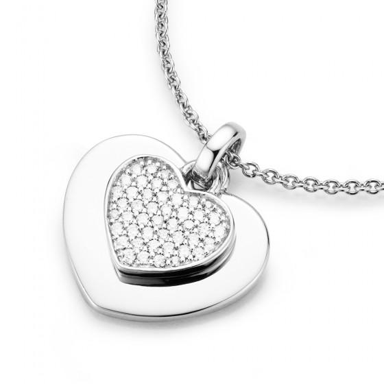 Karat 99009593450 Halskette mit Anhänger 2 Herzen Sterling-Silber Zirkonia