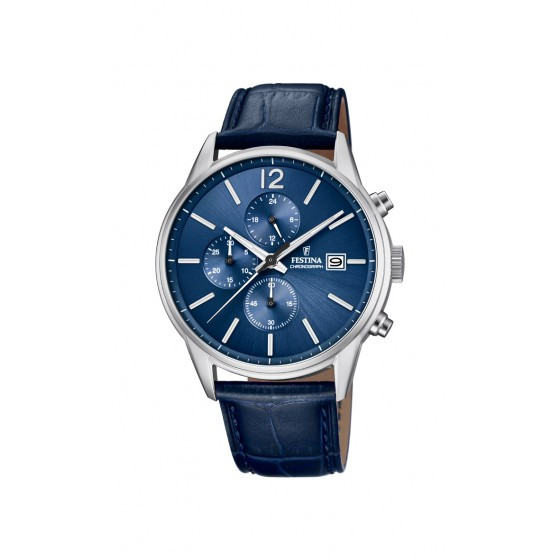 Festina F20284/3 Herren-Uhr Timeless Chronograph Quarz mit Leder-Band