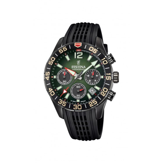 Festina F20518/2 Herren-Armbanduhr Chronograph Quarz mit Silikon-Band Ø 44 mm