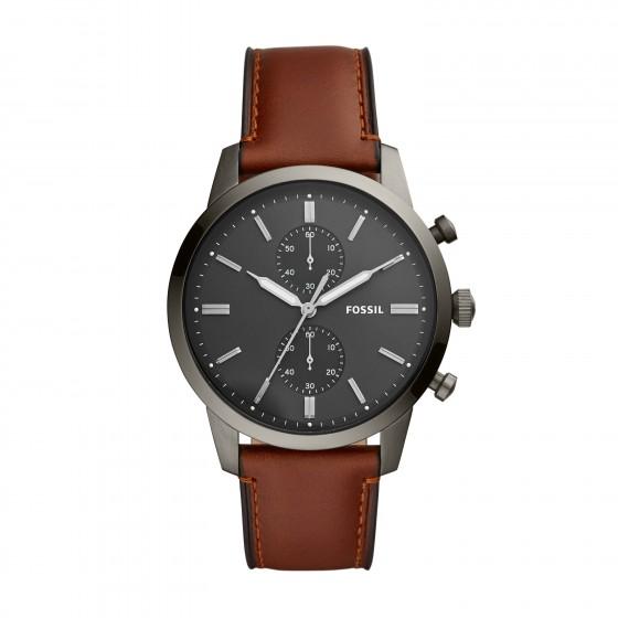 Fossil FS5522 Herren-Uhr Townsman Chronograph Quarz mit Leder-Band