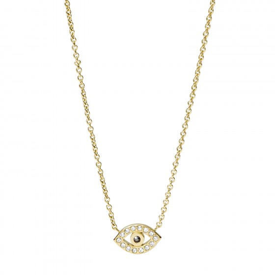 Fossil JF03382710 Halskette mit Anhänger Damen Evil Eye Edelstahl Gold-Ton