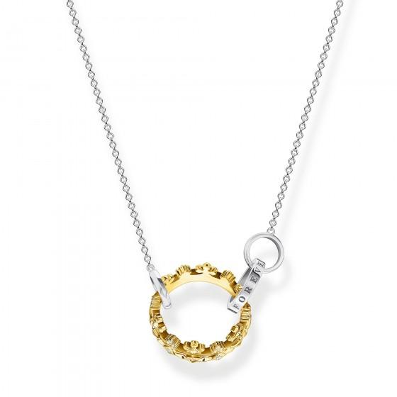 Thomas Sabo KE1988-849-7 Halskette mit Anhänger Krone Silber Vergoldet