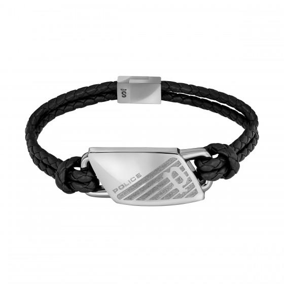 Police PJ.26559BLS/01 Armband Herren Matobo Schwarz Leder Edelstahl