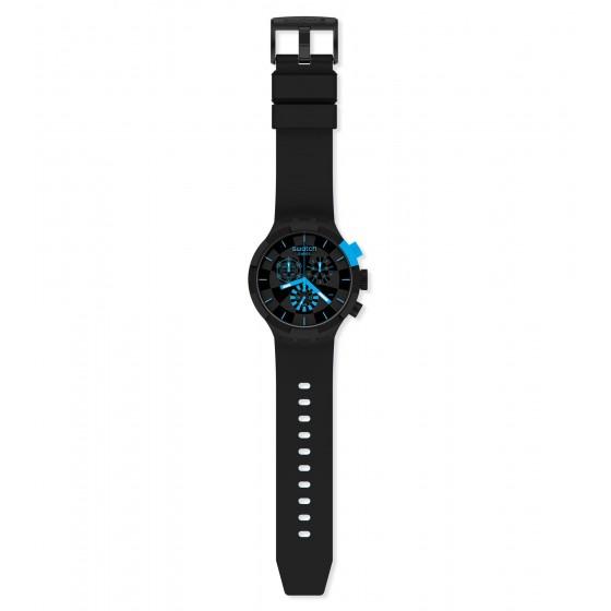 Swatch SB02B401 Armband-Uhr Checkpoint Blue Chronograph Quarz Silikon-Armband