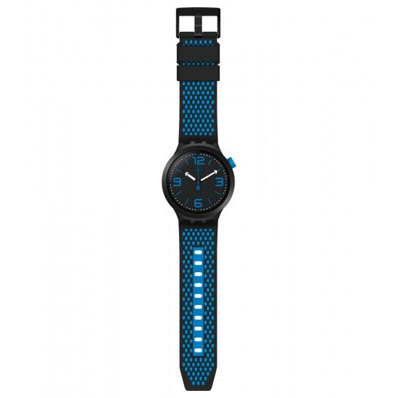 Swatch SO27B101 Armband-Uhr BBBlue Analog Quarz mit Silikon-Band
