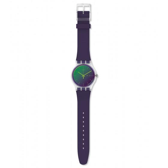 Swatch SUOK712 Armbanduhr Polapurple Analog Quarz mit Silikon Armband Ø 41,00 mm