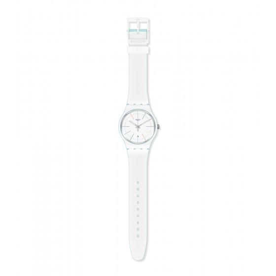 Swatch SUOS404 Armband-Uhr White Layered Analog Quarz mit Silikon-Band
