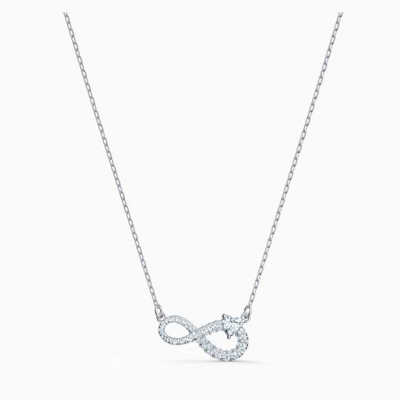 Swarovski 5520576 Halskette mit Anhänger Damen Infinity Weiss Silber-Ton