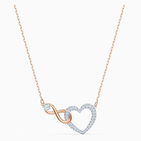 Swarovski 5518865 Halskette mit Anhänger Damen Infinity Heart Weiss Rosé Vergoldet
