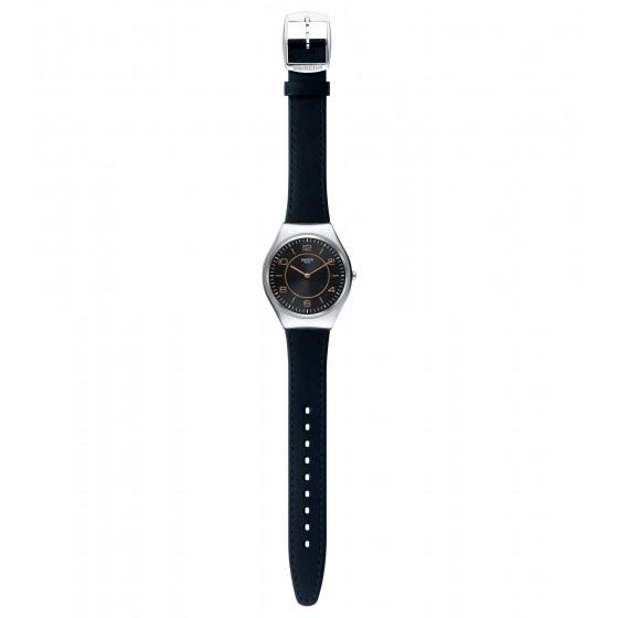 Swatch SYXS110 Armbanduhr Skincounter Analog Quarz mit Leder Armband Ø 38,00 mm