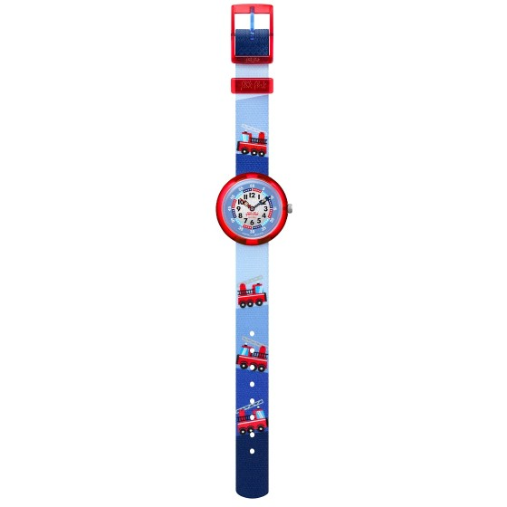 Flik Flak FBNP160 Jungen-Uhr Firetruck Analog Quarz Textil-Armband