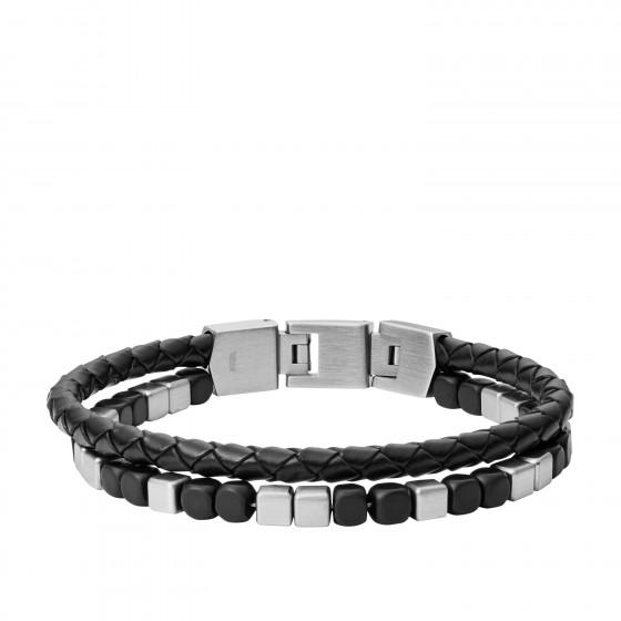 Fossil JF03122040 Armband Herren Duo Black Agate Edelstahl 19,5 cm