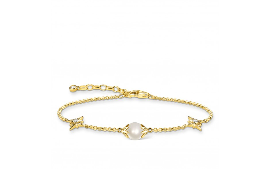 Thomas Sabo A1978-445-14 Armband Damen Perle mit Sternen Silber Vergoldet