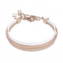 Coeur de Lion 0221/30-1014 Armband Multirow Flat Nappa-Leder Beige Weiss Rosé