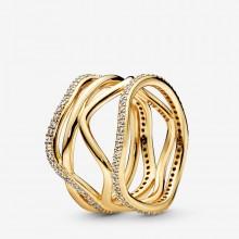 Pandora Shine 168272CZ Ring Damen Swirling Lines Silber Vergoldet