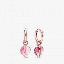 Pandora Rose 288317PMU Ohrringe Creolen Pink Murano Glass Leaf