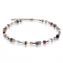 Coeur de Lion 4013/10-0300 Halskette GeoCUBE® Swarovski® Kristalle Roségold Rot