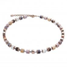 Coeur de Lion 4947/10-1019 Halskette GeoCUBE® Synthetisches Tigerauge Swarovski® Beige Rosa