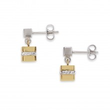Coeur de Lion 4967/21-1617 Ohrringe Cube Edelstahl Gold Silber Kristall Pavé