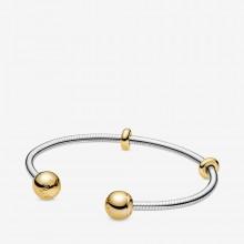 Pandora Shine 568291 Armreif Moments Snake Chain Style Offen Silber Vergoldet
