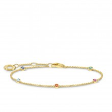 Thomas Sabo A1999-488-7 Armband Damen mit Bunten Steinen Silber Vergoldet