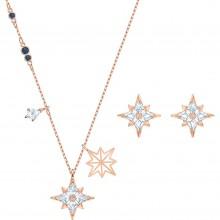 Swarovski 5517178 Set Halskette mit Anhänger Ohrstecker Symbolic Star Weiss Rosé Vergoldet