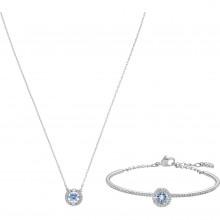 Swarovski 5506386 Set Halskette mit Anhänger Armfreif Sparkling Dance Blau Silber-Ton
