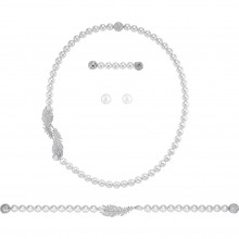 Swarovski 5512380 Set Halskette Armband Nice Weiss Silber-Ton