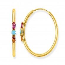 Thomas Sabo CR633-973-7 Creolen Damen Royalty Farbige Steine Silber Vergoldet