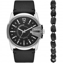 Diesel DZ1907 Herren-Uhr Master Chief Set Analog Quarz mit Armband und Leder-Band Ø 45 mm