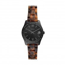 Fossil ES4638 Damen-Uhr Scarlette Mini Analog Quarz mit Edelstahl-Acetat-Band Ø 32 mm