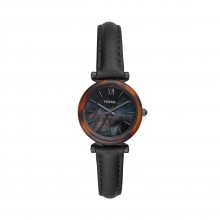 Fossil ES4650 Damen-Uhr Carlie Mini Analog Quarz mit Leder-Band Ø 28 mm
