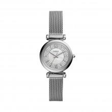 Fossil ES4837 Damen-Uhr Carlie Mini Analog Quarz mit Edelstahl-Band Ø 28 mm