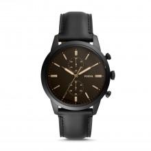 Fossil FS5585 Herren-Uhr Townsman Chronograph Quarz mit Leder-Band Ø 44 mm