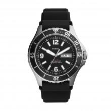 Fossil FS5689 Herren-Uhr FB-02 Analog Quarz mit Silikon-Band Schwarz Ø 48 mm