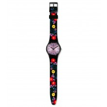 Swatch GB319 Armband-Uhr Coquelicotte Analog Quarz mit Silikon-Band