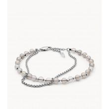 Fossil JA6865040 Armband Damen Halbedelstein Double-Chain Silber-Ton