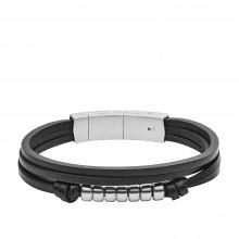 Fossil JF03001040 Armband Herren Multi-Strand Schwarz Leder Edelstahl
