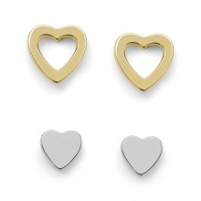 Fossil JFS00454998 Set Ohrstecker Damen Duo Heart Silber-Gold-Ton