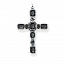 Thomas Sabo PE859-641-11 Anhänger Kreuz Schwarze Steine Silber